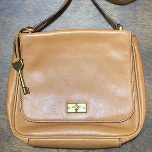 Fossil Leather Bag Tan w/Shoulder Strap